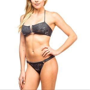 Charcoal Two Piece Sequin Lace Bandeau Bikini Set